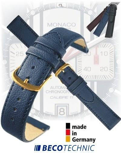 Cinturino in pelle NAPPA BLU SCURO 16 mm dorato